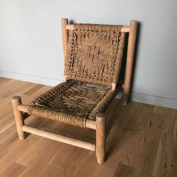 fauteuil bas paille vintage