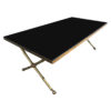 table basse noire laiton vintagee