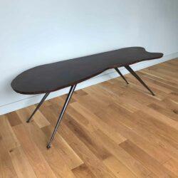 table basse bois vintage et pieds métal noir