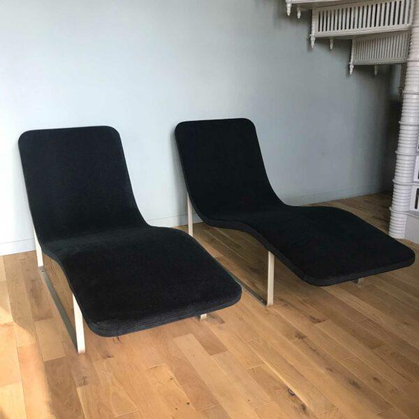 Chaise longue vintage noire